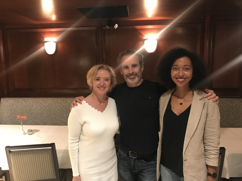 Liz with Paul Cleave and Melanie Raabe at Vancouver Writer's Festival