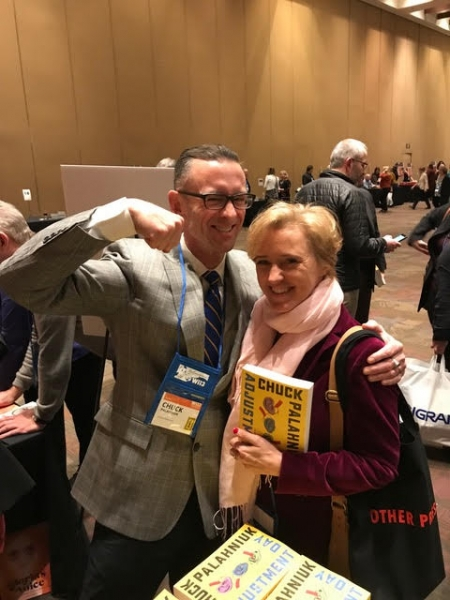 Liz with Chuck Palahniuk at Winter Institute in Memphis, January 2018