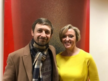 Liz with Neil Hannon of The Divine Comedy who wrote the song Lady of a Certain Age which inspired the writing of Skin Deep.
