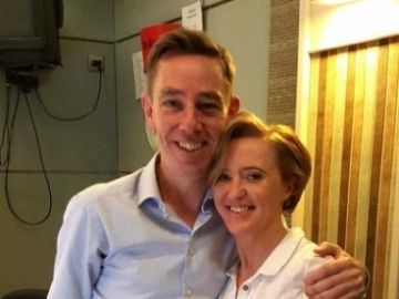 Liz with Ryan Tubridy after guesting on his RTE Radio 1 show, April 2018.