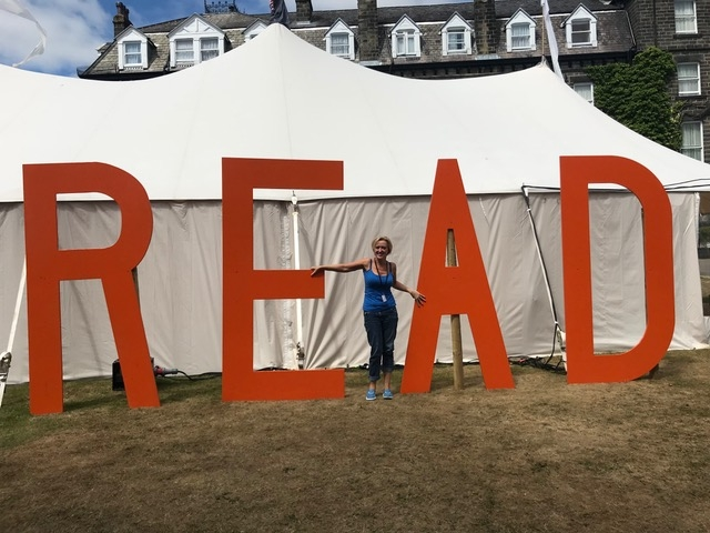 Liz at Theakston's Old Peculier Crime Writing Festival, Harrogate, England. July 2018