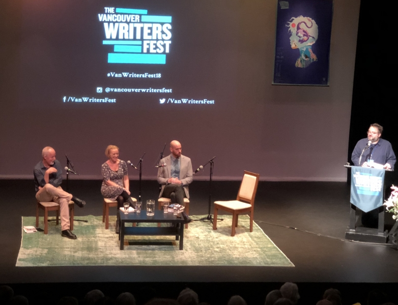 Michael Robotham, Liz and Ian Reid at Vancouver Writer's Festival.