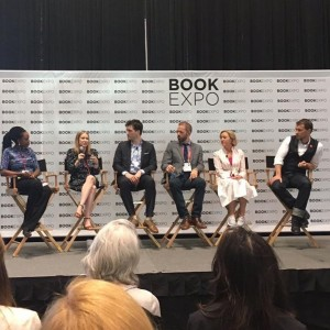 With fellow Book Buzz authors ( l to r) Ayobami Adebayo, Chloe Benjamin, AJ Finn, Brendan Mathews and Gabriel Tallent