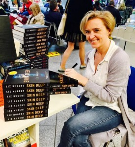 Liz signs books at Dublin Airport